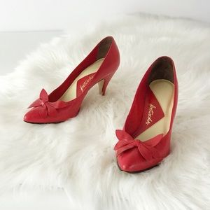 Vintage 1970s Footworks Red Bow Toe Heel Pointed 7